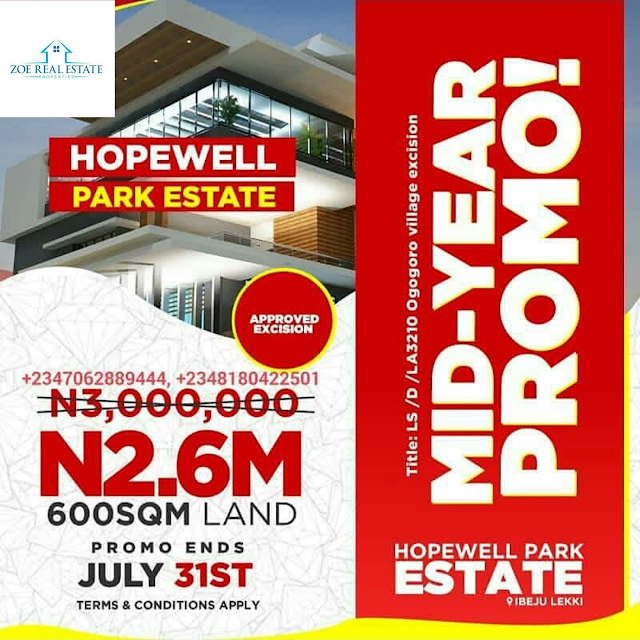 HOPEWELL PARK ESTATE, IBEJU LEKKI, LAGOS ( LAND FOR SALE)