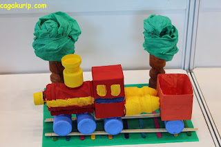 Colorful Train from Recycle Material