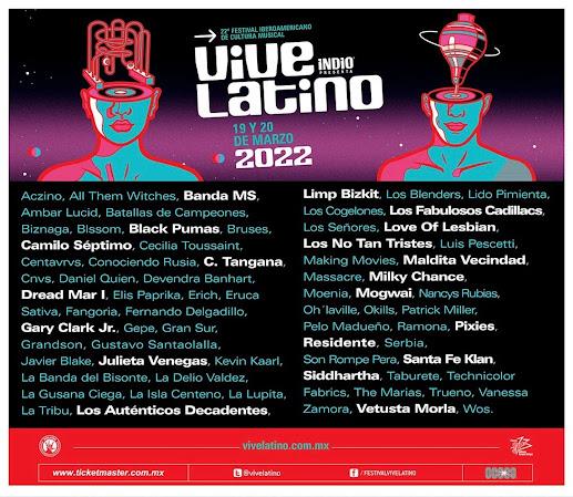 artistas vive latino 2022