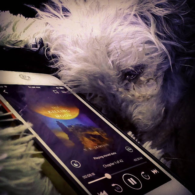 Murchie's head rests up against a white iPod with the cover of The Killing Moon on it. The cover features an enormous orange moon hovering above a vaguely Egyptian city.