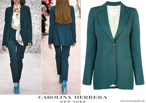 Queen Letizia wore Carolina Herrera Green two-button wool-blend suit blazer