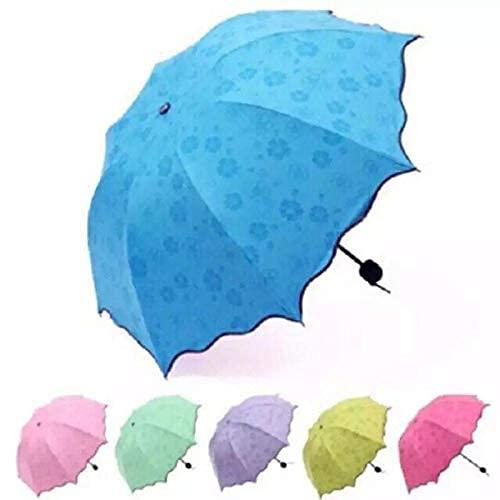 STREZO Fancy Magic Umbrella Changing Secret Blossoms Occur with Water Magic Print 3 Fold Umbrella for Girls, Women, Boys, Men & Children for UV, Sun & Rain