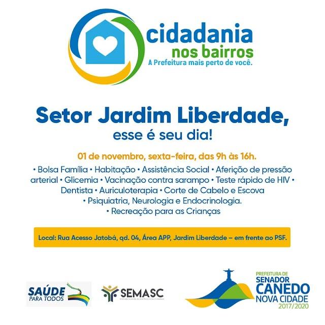 """Senador Canedo: """"Cidadania nos Bairros"""" chega com mais uma edição, dessa vez no Jardim Liberdade"""