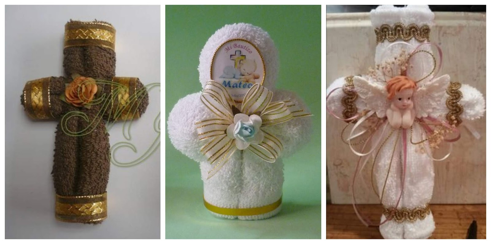 0a8a8500557 Aprende cómo hacer cruces con toallas para regalar en bautizos o primera  comunión