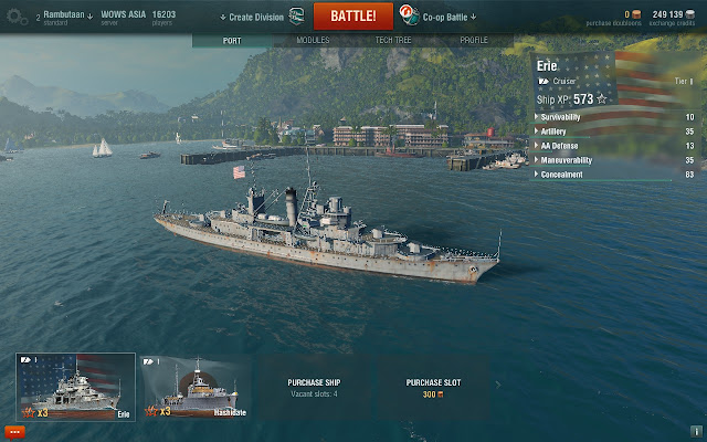 Screenshot of Erie class cruiser in World of Warships