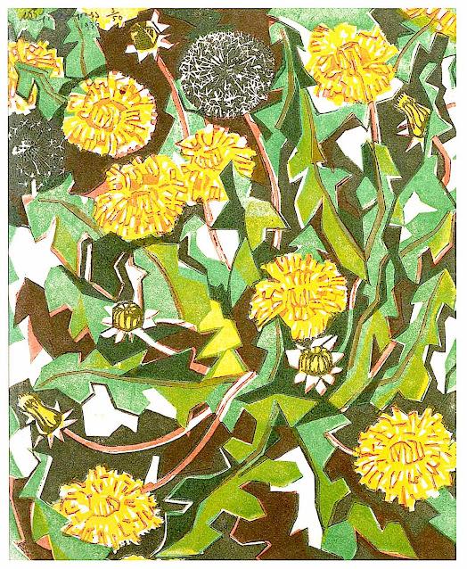 a William Greengrass print 1936, of dandelions