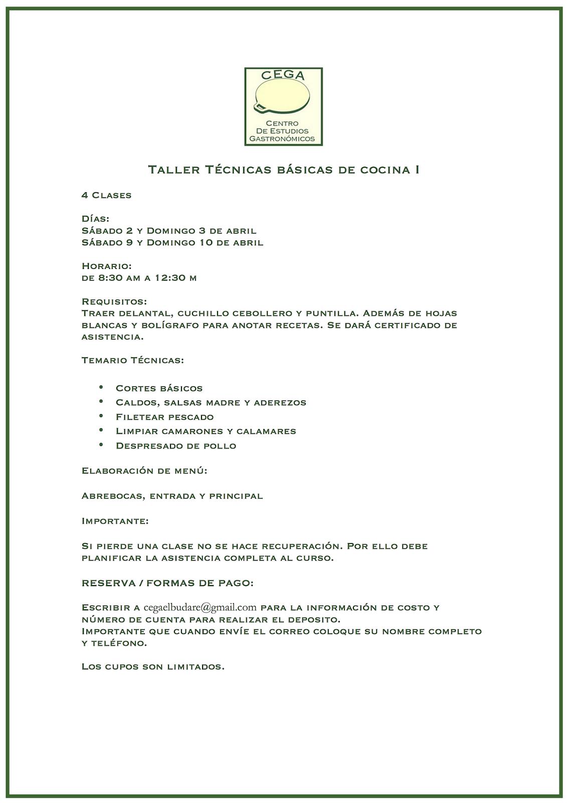 El budare del cega nuevos talleres cega de t cnicas - Tecnicas basicas de cocina ...
