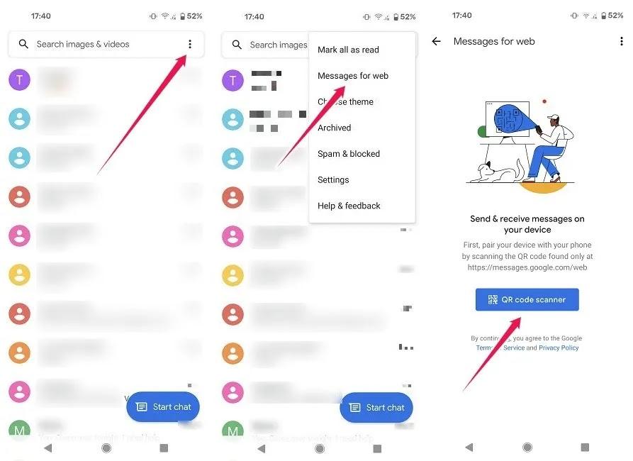 الوصول إلى سطح مكتب رسائل Google قم بتنشيط الرسائل للويب من الهاتف