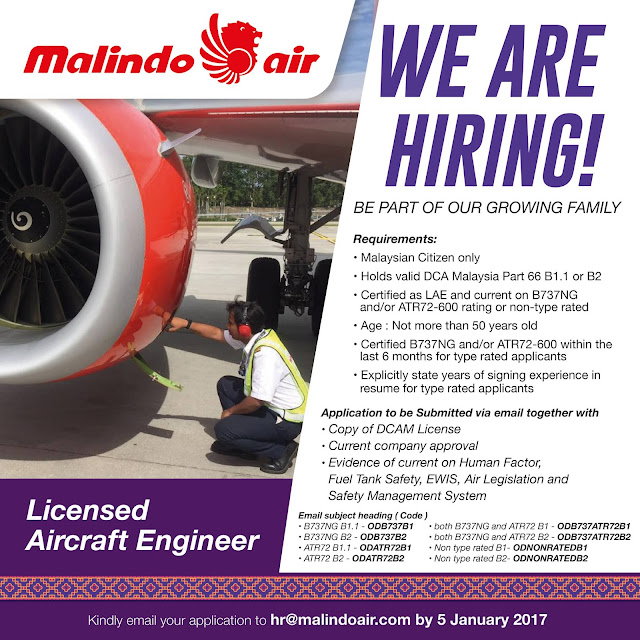 Malindo Air Vacancy Hiring Licensed Aircraft Engineer