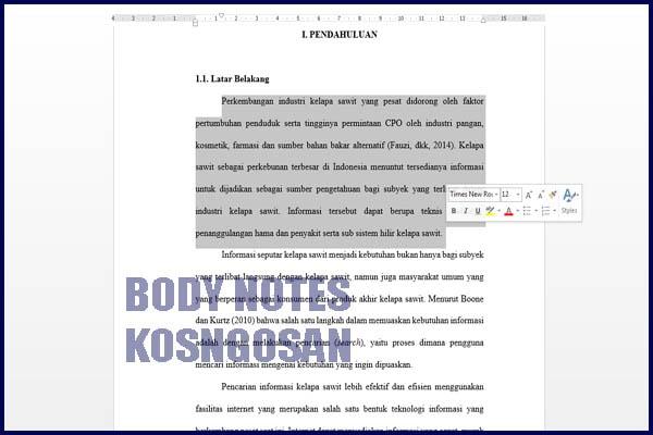 contoh bodynote