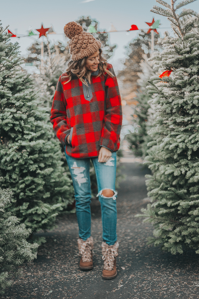 Red Plaid Sherpa With Hiker Boots