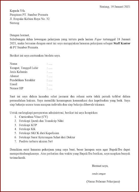 Contoh Application Letter Untuk Staff Kantor (Fresh Graduate) Berdasarkan Informasi Dari Media Cetak