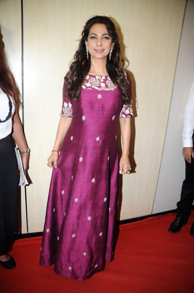 Mumbai Actress Juhi Chawla At Dadasaheb Phalke Awards In Maroon Dress