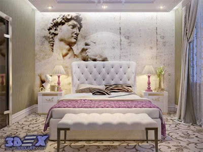 art deco style, art deco interior design, art deco bedroom decor with art painting