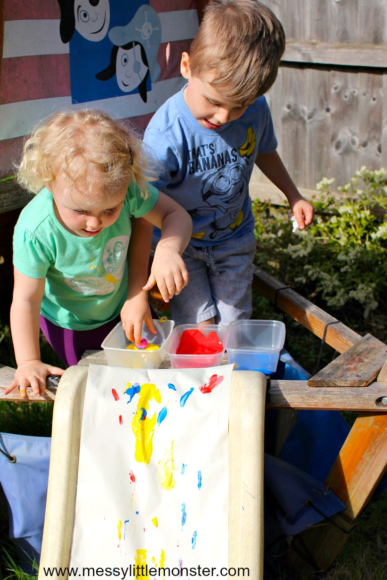 toddler and preschool outdoor painting idea