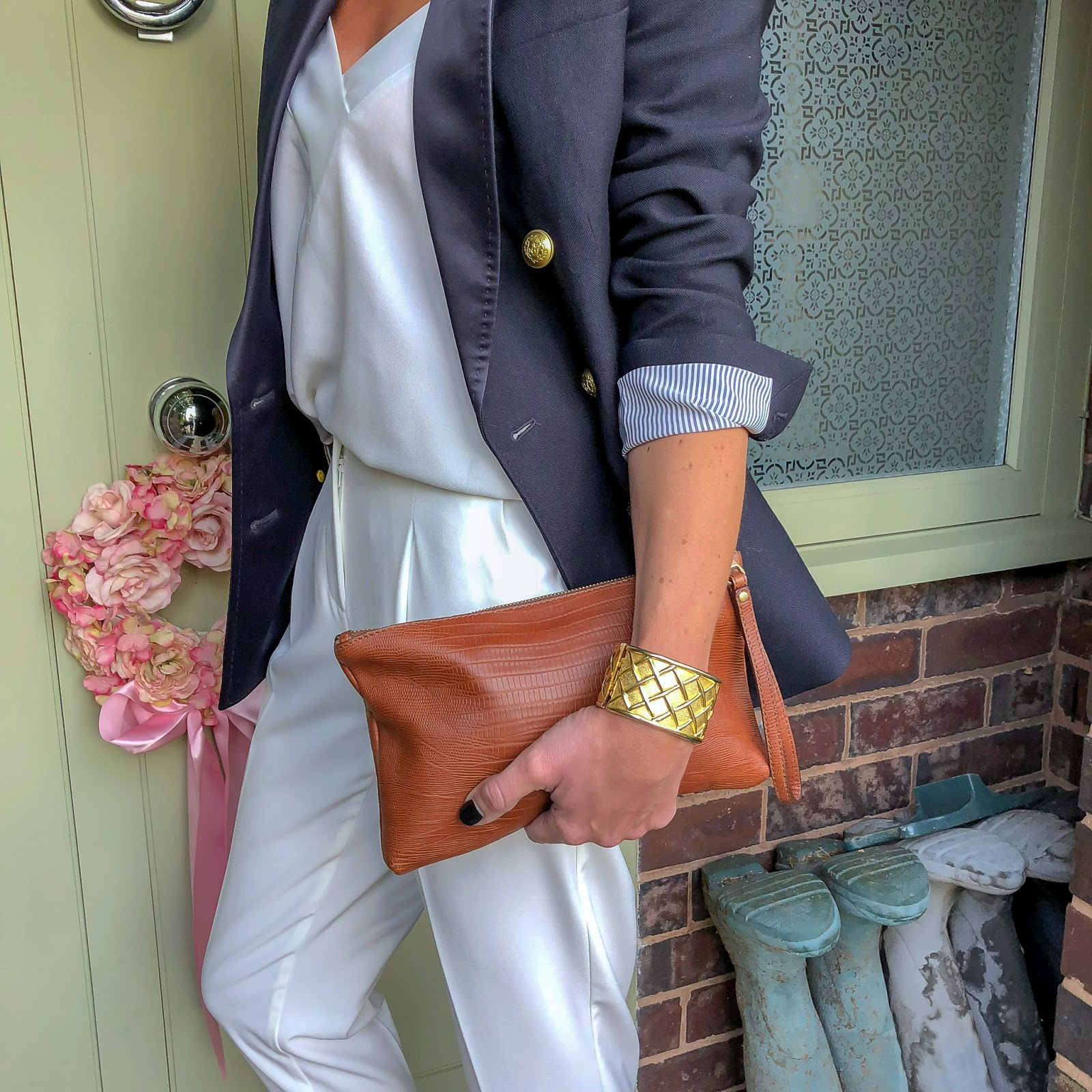 my midlife fashion, marks and spencer tapered leg trousers, mango camisole, j crew tuxedo double breasted jacket, massimo dutti tan leather clutch, next block heel tan sandals