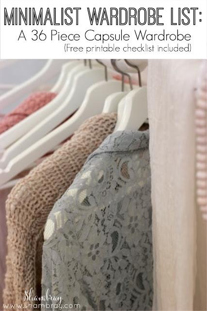 Minimalist Wardrobe List: A 36 Piece Wardrobe_Free Printable checklist
