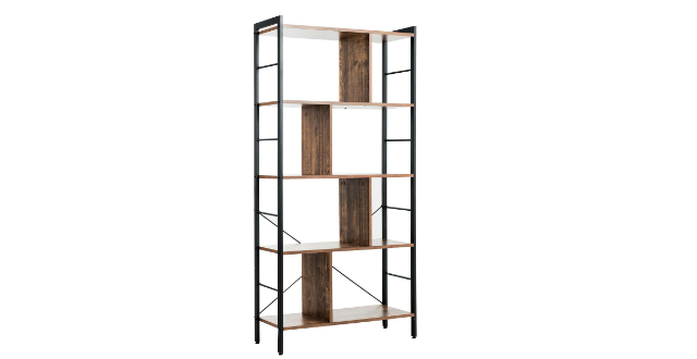 Gymax 4-Tier Bookcase Industrial Bookshelf Floor Standing Storage Rack