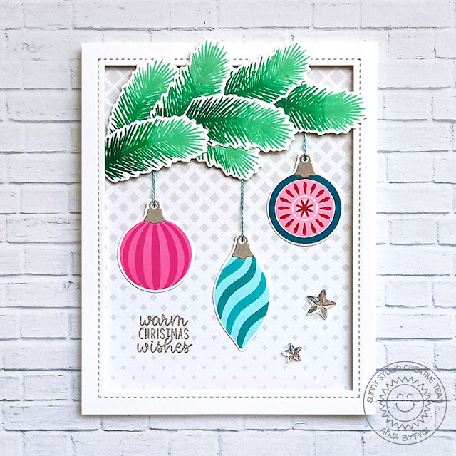Sunny Studio Stamps: Retro Ornaments Frilly Frame Classy Christmas Holiday Card by Anja Bytyqi