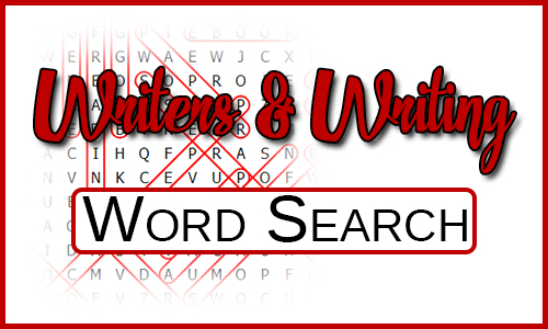 Says Writings & Writing Word Search over a word search fading into the white background.