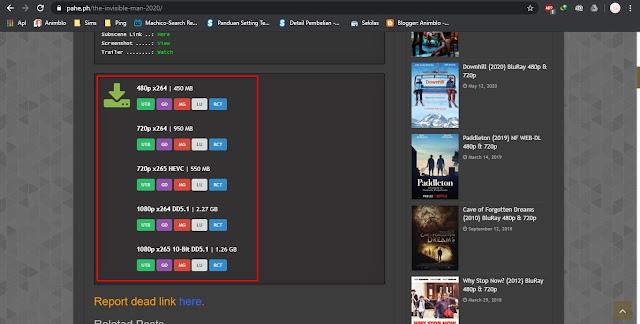 memilih tombol download film