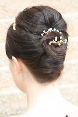 Wedding hair with height and french style roll