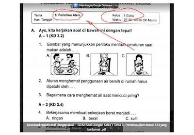 Soal Ulangan K-13 Kelas 1 Tema 8 - Peristiwa Alam
