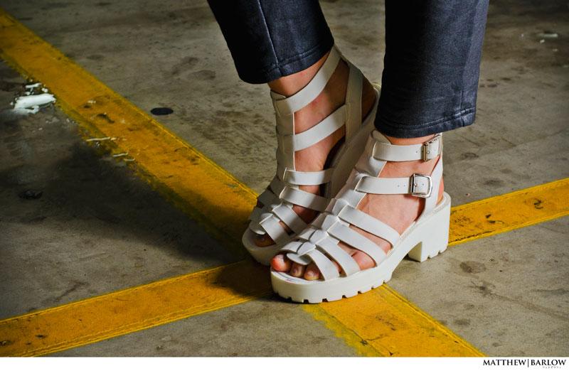 white flatform sandals street style