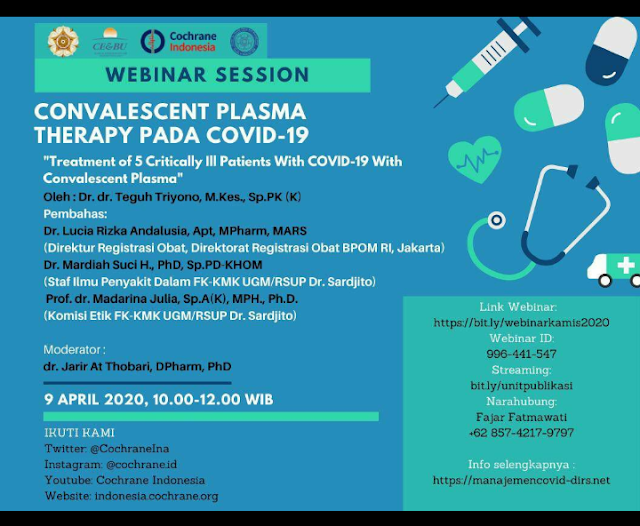"Webinar *""Treatment of 5 Critically Ill Patients With COVID-19 With Convalescent Plasma""*"
