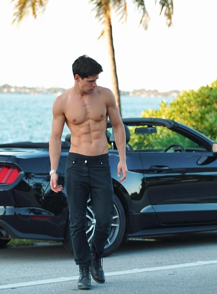 cute-slim-fit-bare-chest-gay-abs-pecs-male-models-car