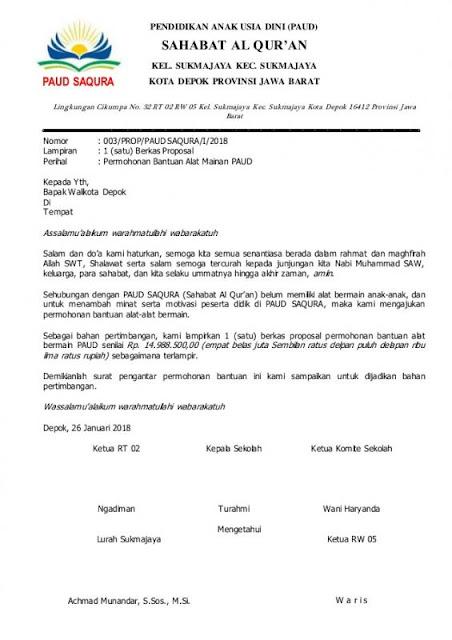 Contoh Surat Permohonan Bantuan (via: lezgetreal.com)