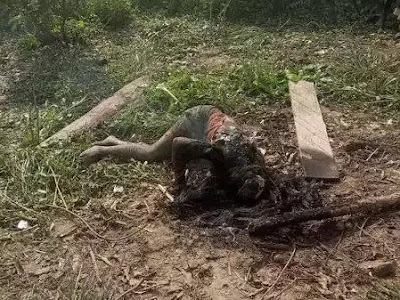Ritualist Burnt Alive In Yenagoa, Bayelsa State After Killing A Teenager