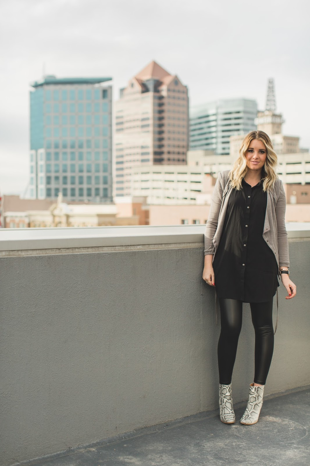 Black Tunic, Leather Leggings, Preggo Leggings, Utah Fashion Blogger