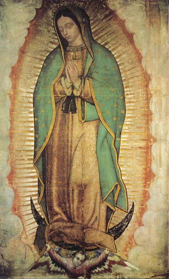 Imagem de Nossa Senhora de Guadalupe estampada na tilma de Juan Diego