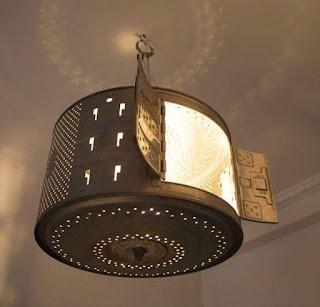 tambor de lavadora utilizado para hacer lampara de techo