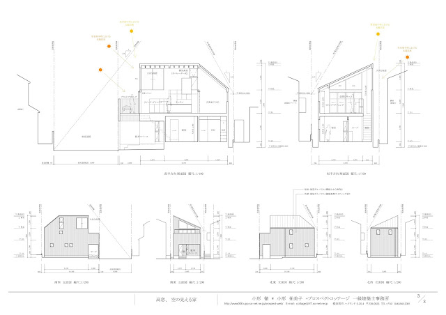 シンプルな輪郭が内包する納屋のような居心地の良い住まい 断面・立面計画