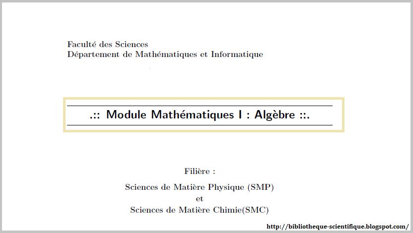 Cours de mathematiques speciales: algebre pdf free