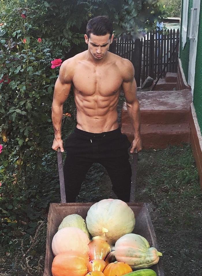 hot-shirtless-guy-collecting-halloween-pumpkins