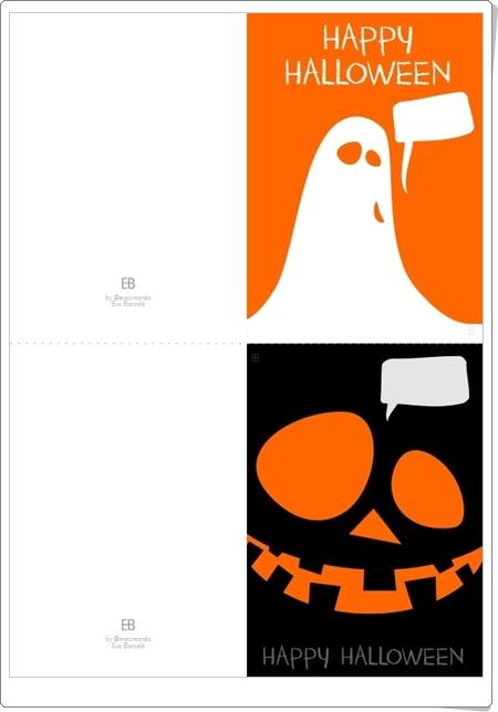 """""""Tarjetas de invitación de Halloween"""" de Eva Barceló (En español e inglés)"""