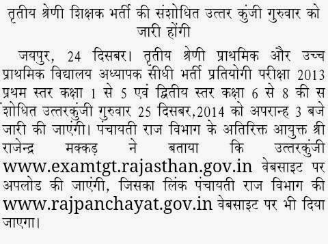 Rajasthan 3rd Grade Teacher 1st / 2nd Level answer key