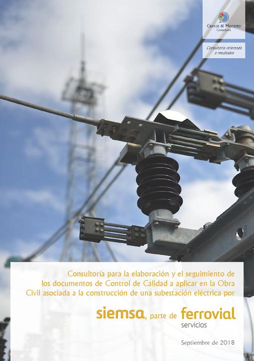 Portada del trabajo por el que Cuevas y Montoto Consultores asistirá a Siemsa (Ferrovial Servicios) en la elaboración y seguimiento del Plan de Ensayos de Obra Civil del proyecto de construcción de una Subestación Eléctrica situada en la localidad de Mula (Murcia)