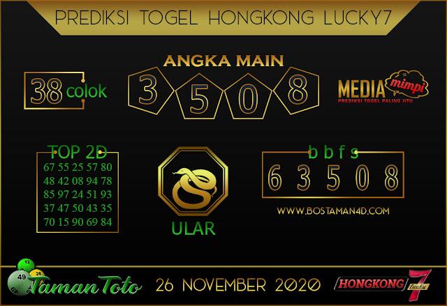 Prediksi Togel HONGKONG LUCKY 7 TAMAN TOTO 26 NOVEMBER 2020