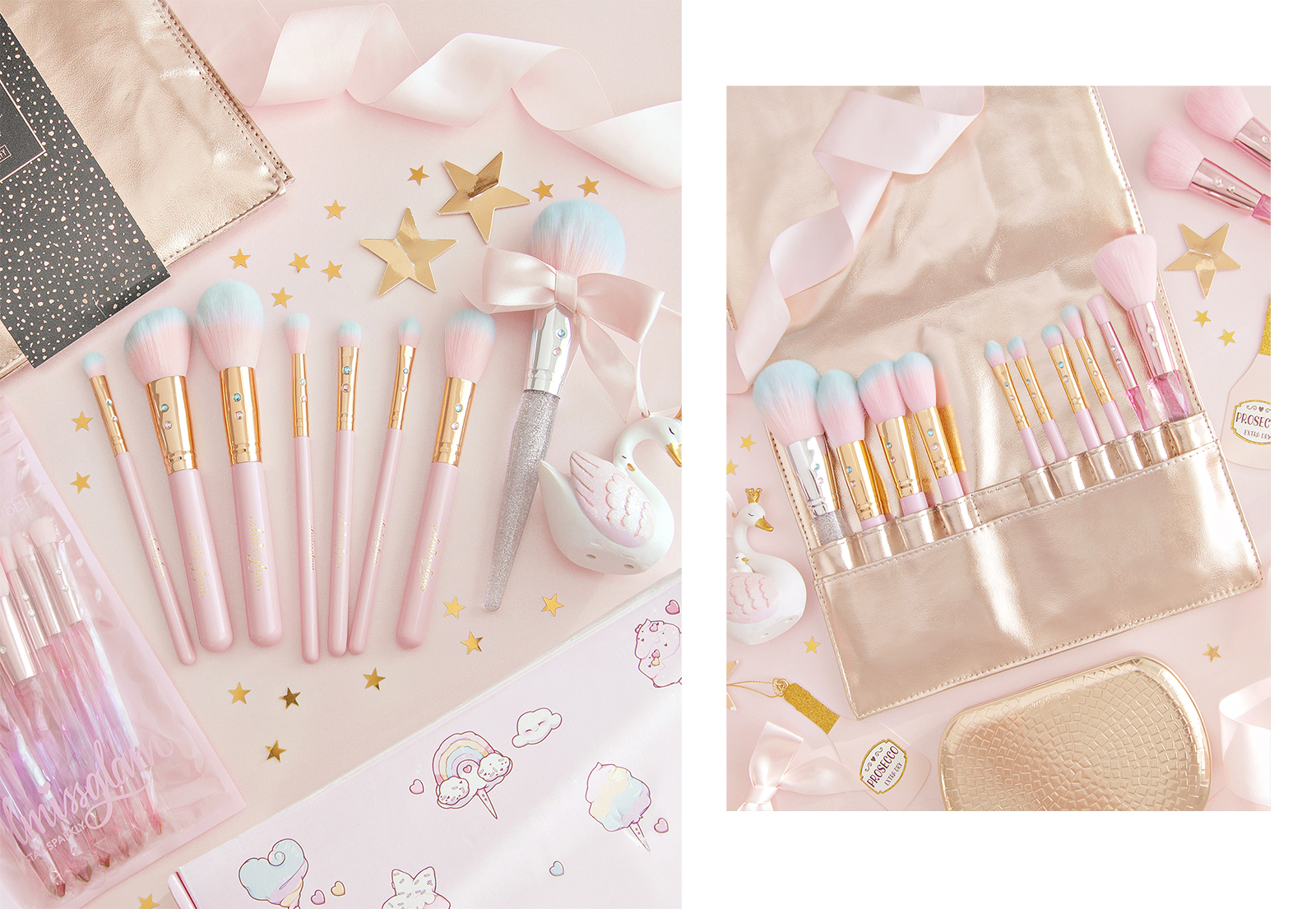 Pink makeup brushes from the brand SlMissGlam