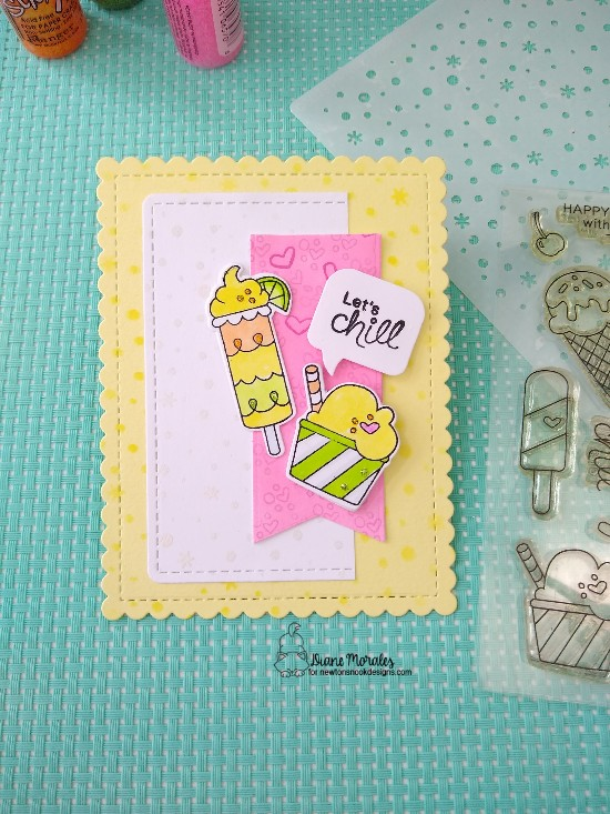 Let's Chill by Diane features Frames & Flags, Summer Scoops, Speech Bubbles, and Petite Snow by Newton's Nook Designs; #newtonsnook, #inkypaws, #cardmaking, #summercards