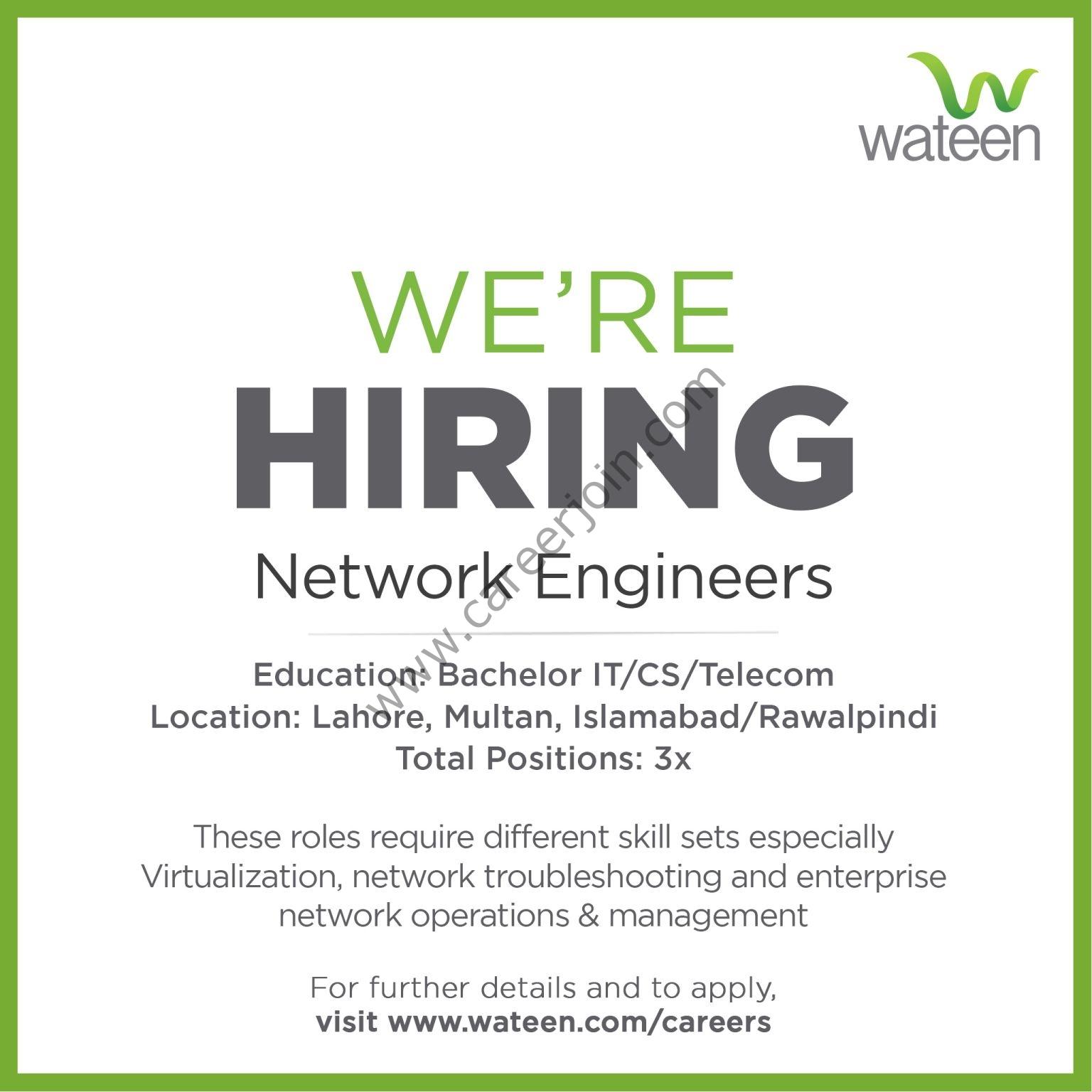 Wateen Telecom Jobs Network Engineers