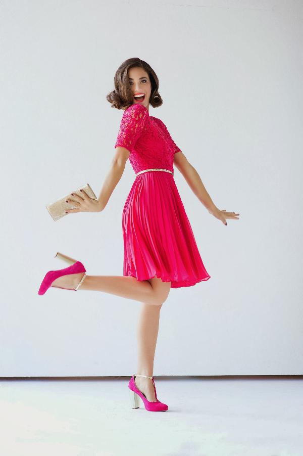 pink dress editorial holiday ootd gift guide