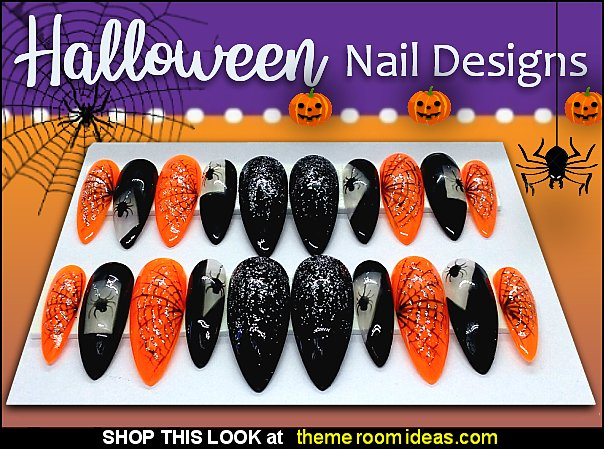 Halloween Press On Nails Halloween Spooky spider false nails  Halloween nails
