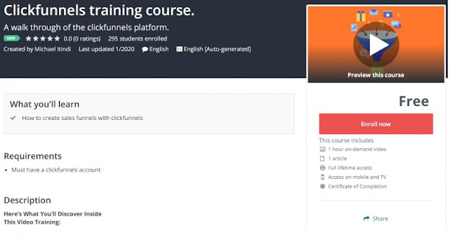 [100% Free] Clickfunnels training course.