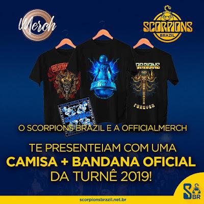 O Scorpions Brazil e a OfficialMerch te presenteiam com uma camisa + bandana oficial da turnê 2019!