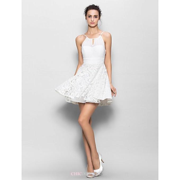 Short/Mini Chiffon / Lace Bridesmaid Dress - White Sheath/Column Spaghetti Straps